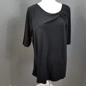 Susan Graver Solid Black Basic T Shirt XL